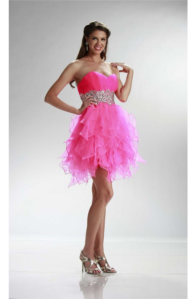 Puffy Strapless Short Hot Pink Organza Ruffle Cocktail Prom Dress