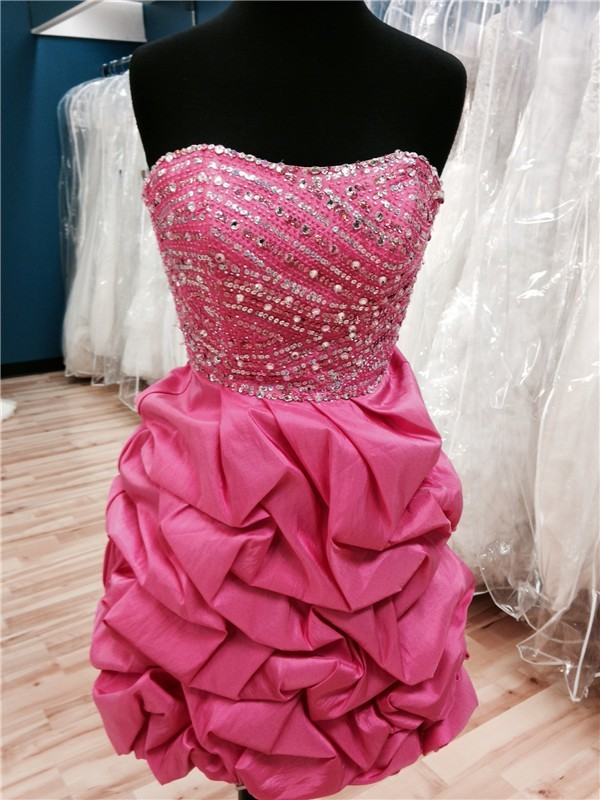 Puffy Strapless Short Hot Pink Taffeta Bubble Beaded Prom Dress