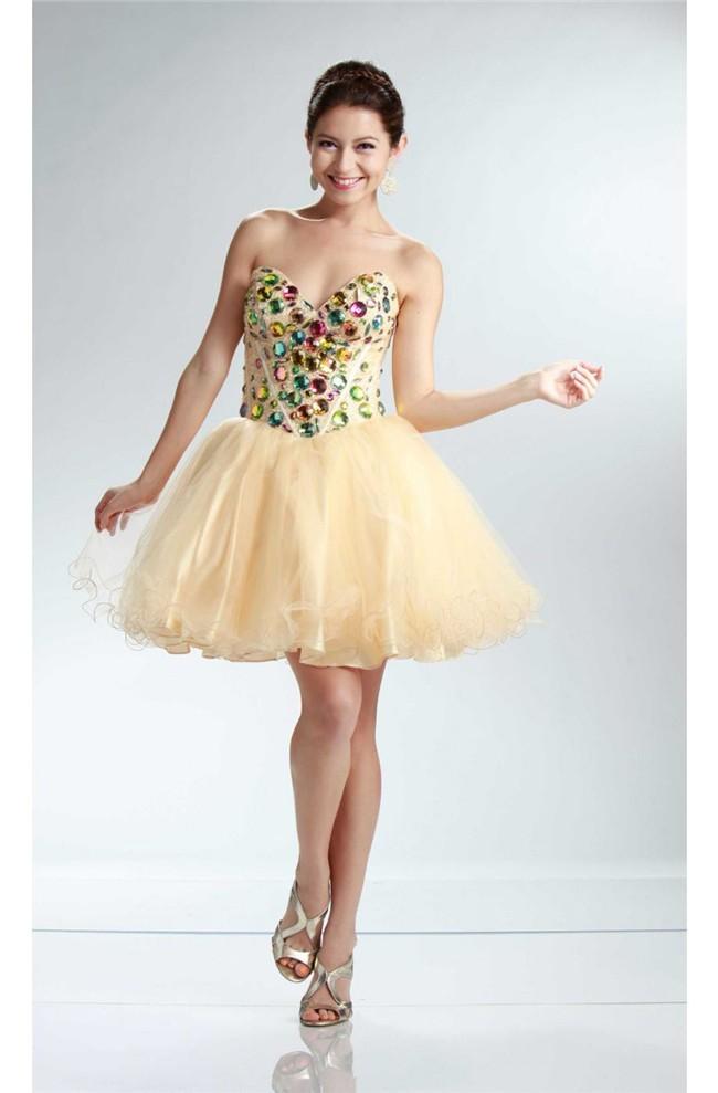 Puffy Strapless Short Light Gold Tulle Beaded Cocktail Prom Dress