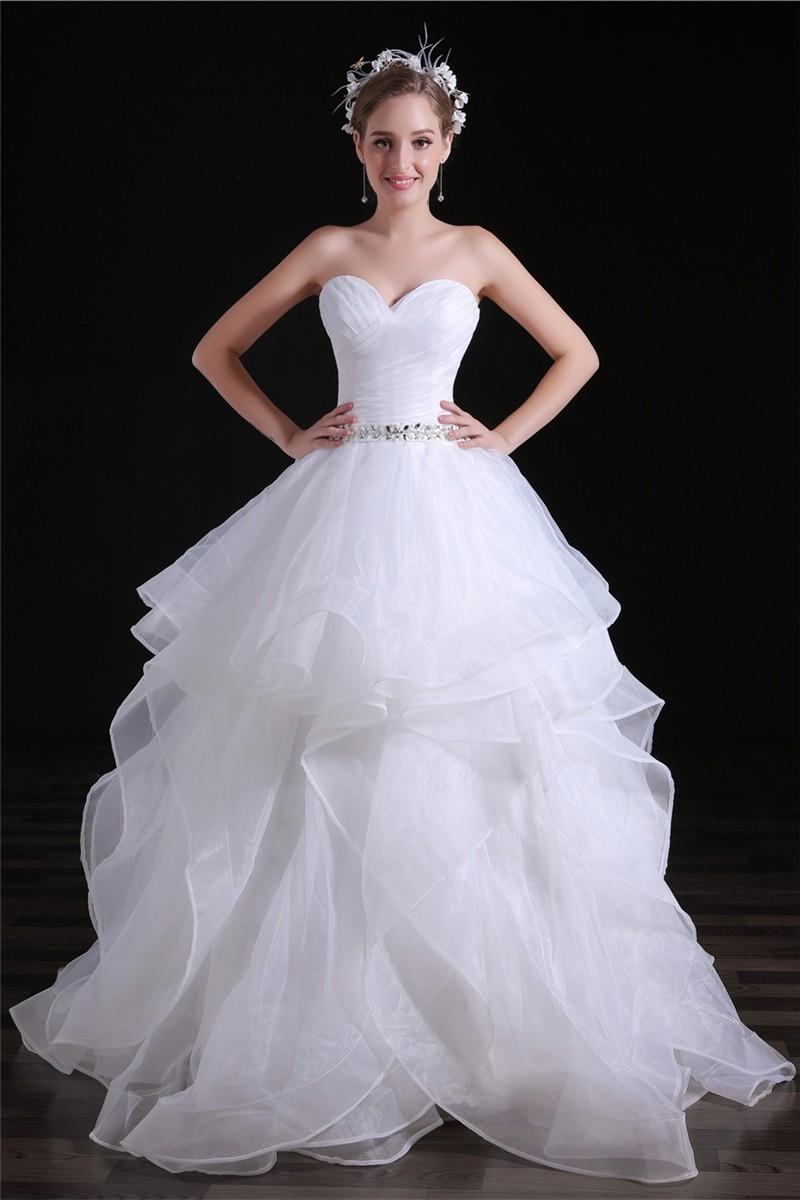 Romantic Ball Gown Sweetheart Organza Ruffle Layered Wedding Dress Corset Back: Organza Ruffle Wedding Dresses For Bride At Websimilar.org