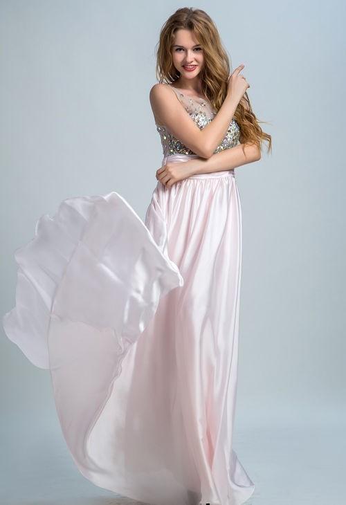 f8d5c07b51ad Round Neck Sheer Back Sleeveless Light Pink Chiffon Beaded Prom Dress