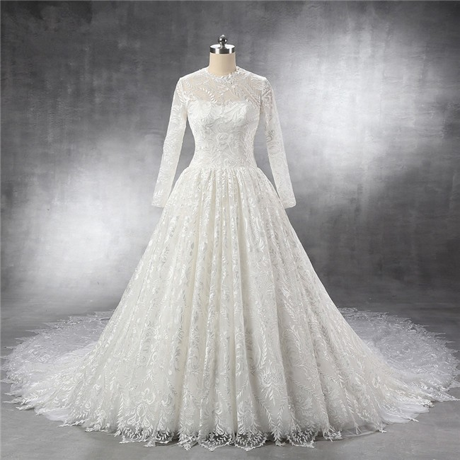Royal Ball Gown Keyhole Back Long Sleeve Vintage Lace Wedding Dress Cathedral Train