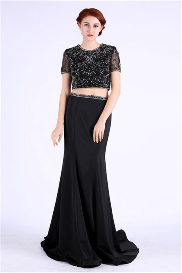 Scoop Neck Two Piece Black Satin Tulle Beaded Prom Dress With Short ...