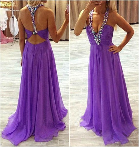 177c2f4fcb6 Sexy A Line Deep V Neck Halter Open Back Long Lilac Chiffon Beaded Prom  Dress