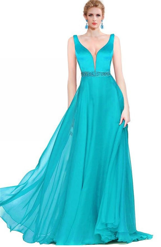 Sexy A Line Plunging Neckline Long Turquoise Chiffon Flowing Prom Dress