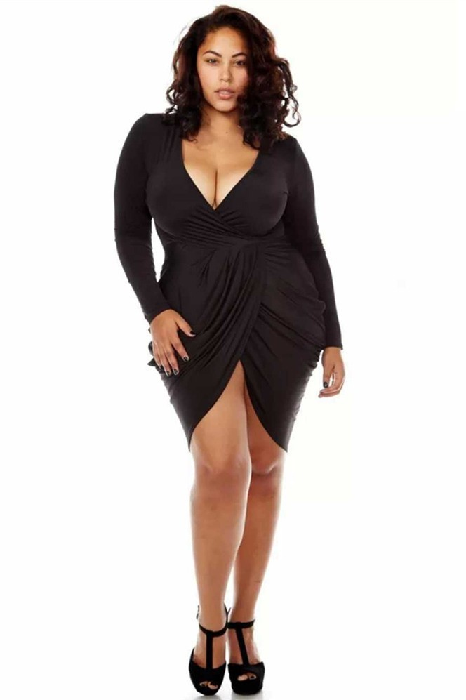 Long Sleeve Plus Size Black Dress