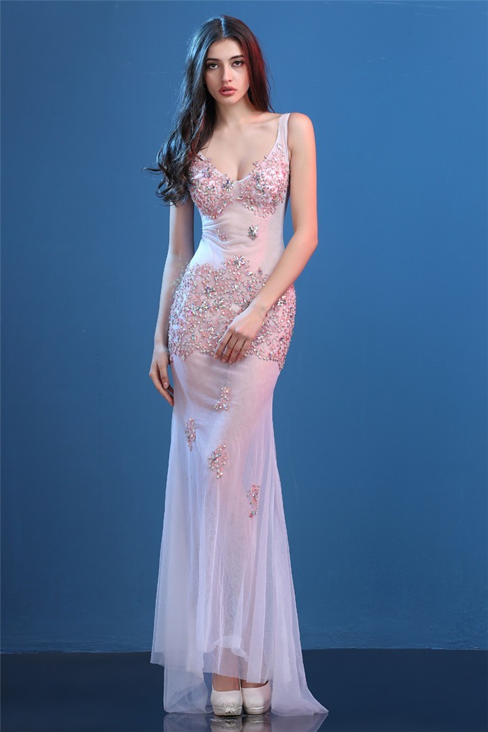 9989a8e0f95 Sexy Deep V Neck Sheer Illusion White Tulle Pink Lace Beaded Special  Occasion Prom Dress