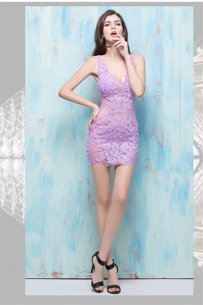 Sexy Deep V Neck Sheer See Through Lilac Tulle Lace Night Out Club Mini  Party Dress 8c95290e8