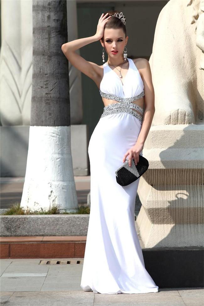 Backless White Dress