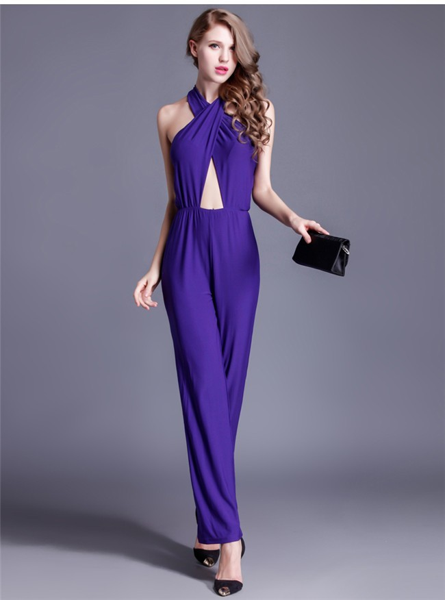 Sexy Halter Cut Out Purple Jersey Formal Occasion Evening