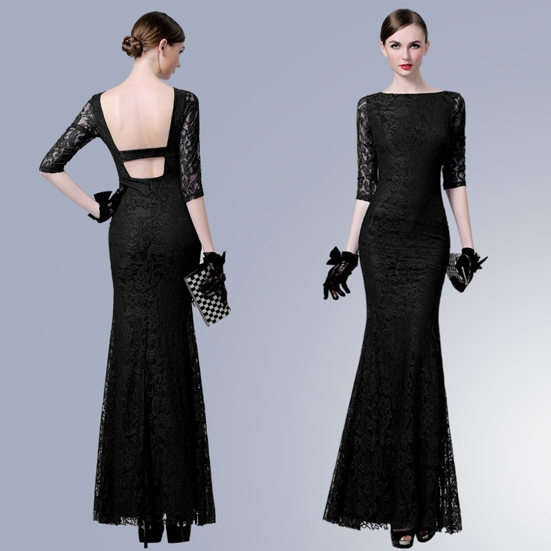 Sexy Mermaid Boat Neck Backless Black Lace Formal Evening Dress With