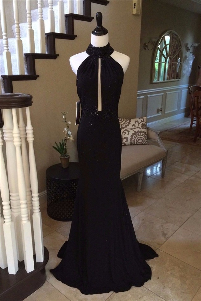 0e2f61f7ca Sexy Mermaid Halter Low Back Cut Out Black Jersey Beaded Prom Dress