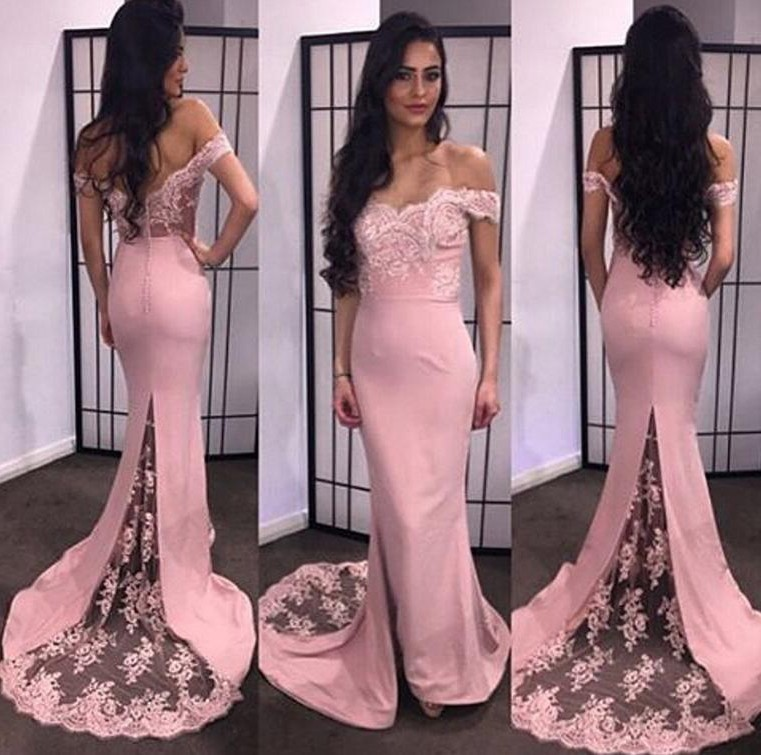 Sexy Mermaid Off The Shoulder Dusty Rose Satin Lace Evening Prom Dress
