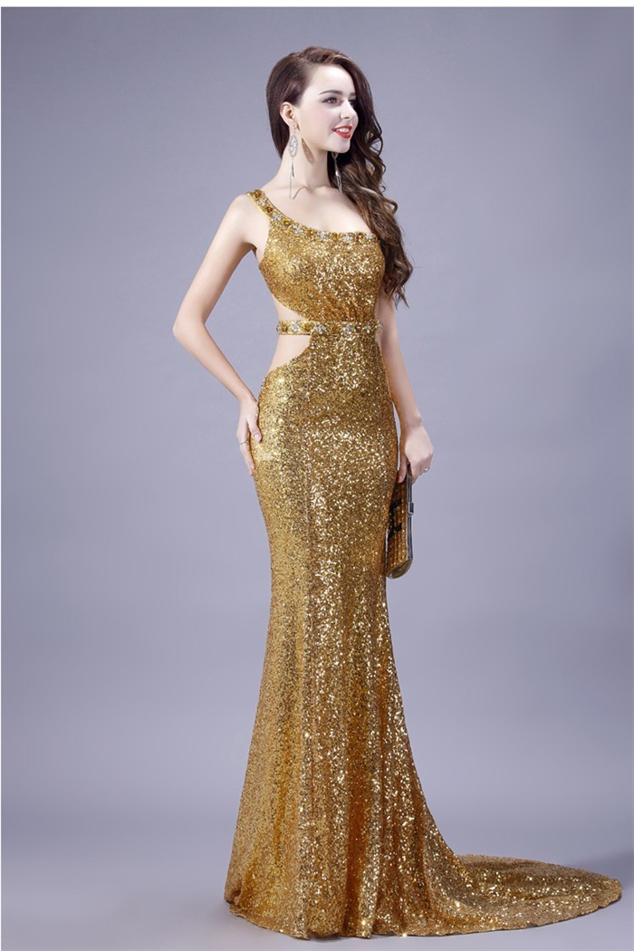 Sexy Mermaid One Shoulder Cutouts Backless Gold Sequin Evening Prom Dress 6ab2b8ad6