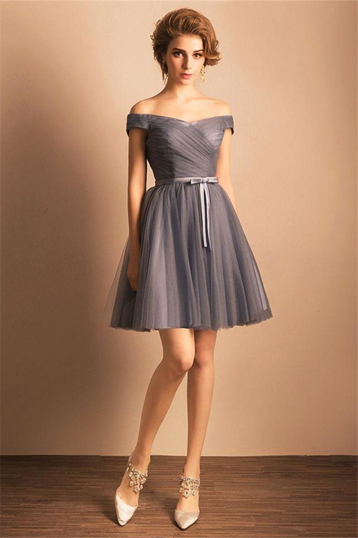 1405426914e Sexy Off The Shoulder Grey Tulle Ruched Short Prom Dress Bow Belt