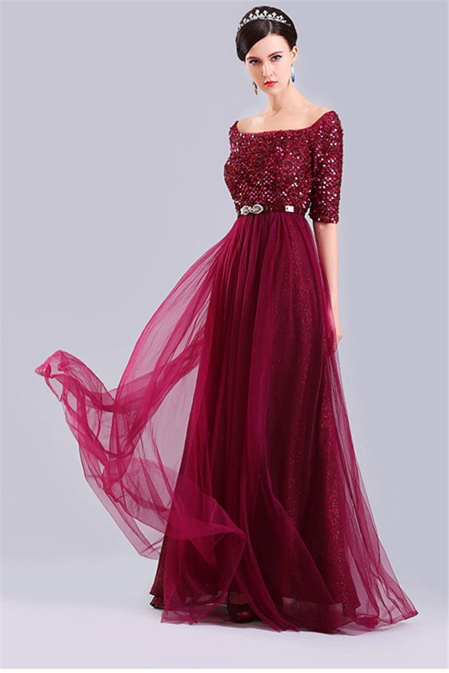 Y Off The Shoulder Half Sleeve Burgundy Tulle Sequin Prom Dress With Sash
