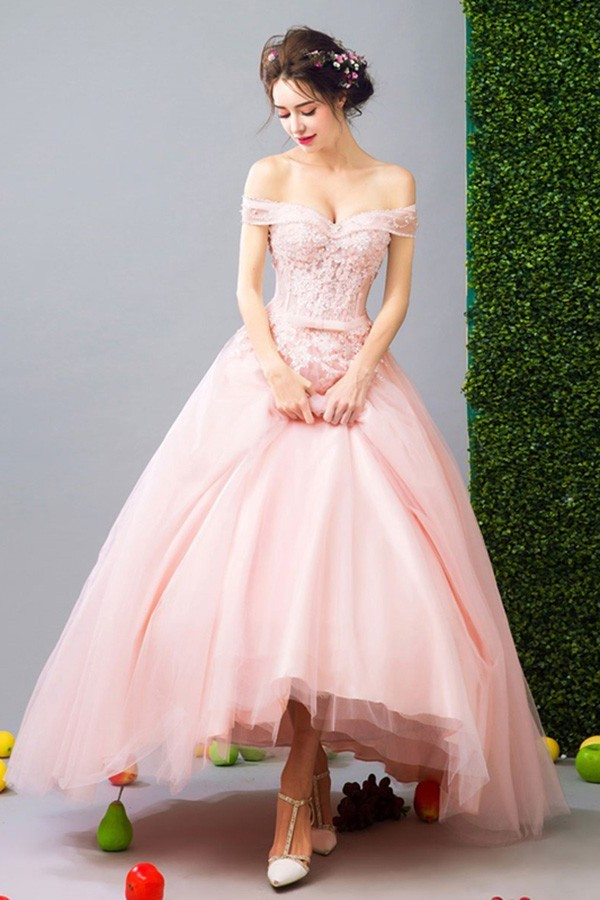 16e2f0e5ae02 Sexy Off The Shoulder High Low Blush Pink Tulle Outdoor Garden Wedding Dress