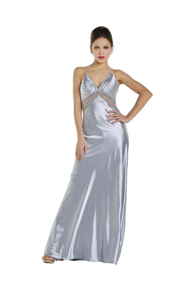 Sexy See Through Tulle Beaded Open Back Silver Silk Prom Dress