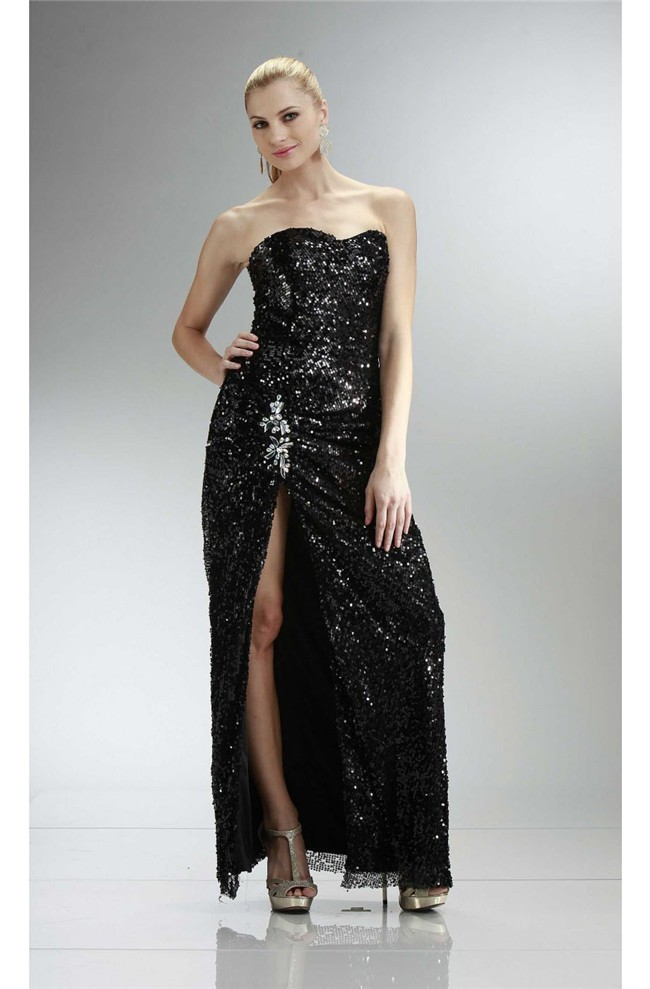 b08ad6ff67b63 Sexy Sheath Strapless High Slit Long Black Sequin Sparkly Prom Dress