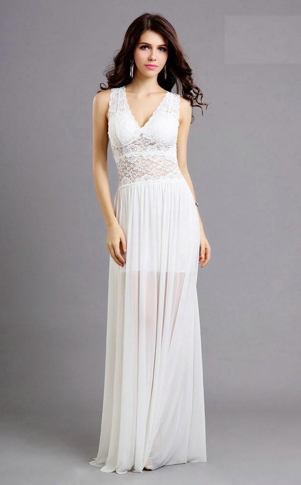 1f2dcca9286f Sexy Sheath V Neck See Through Long White Chiffon Lace Prom Dress