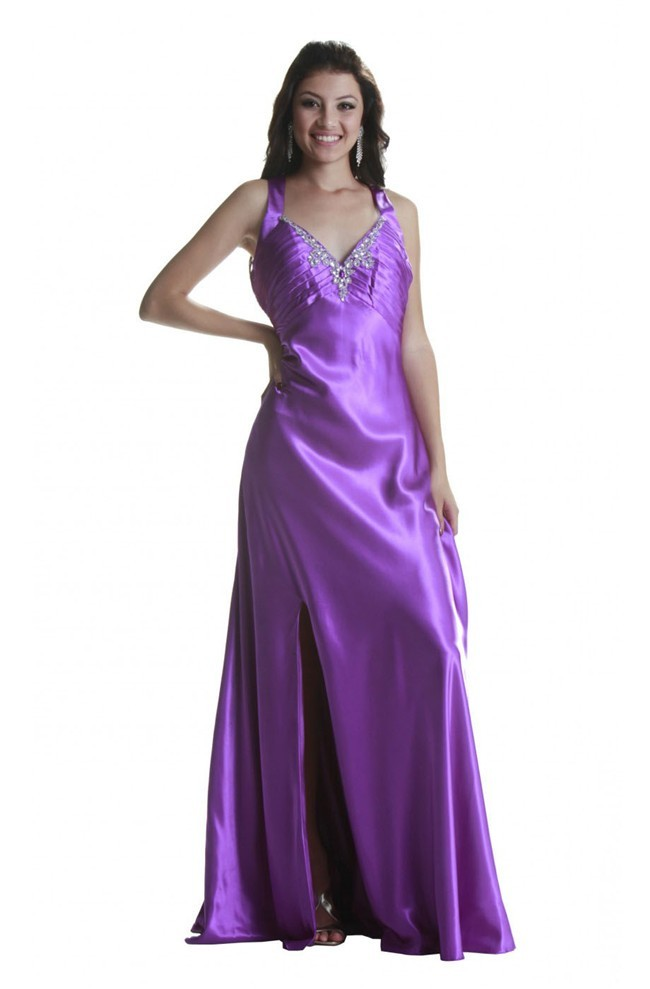 056ed3ce5f7 Sexy Sweetheart Backless High Slit Purple Silk Prom Dress With Straps