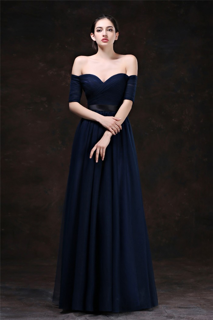 9456ecd3ca1 Sexy Sweetheart Off The Shoulder Long Navy Blue Tulle Evening Prom Dress  With Sleeves