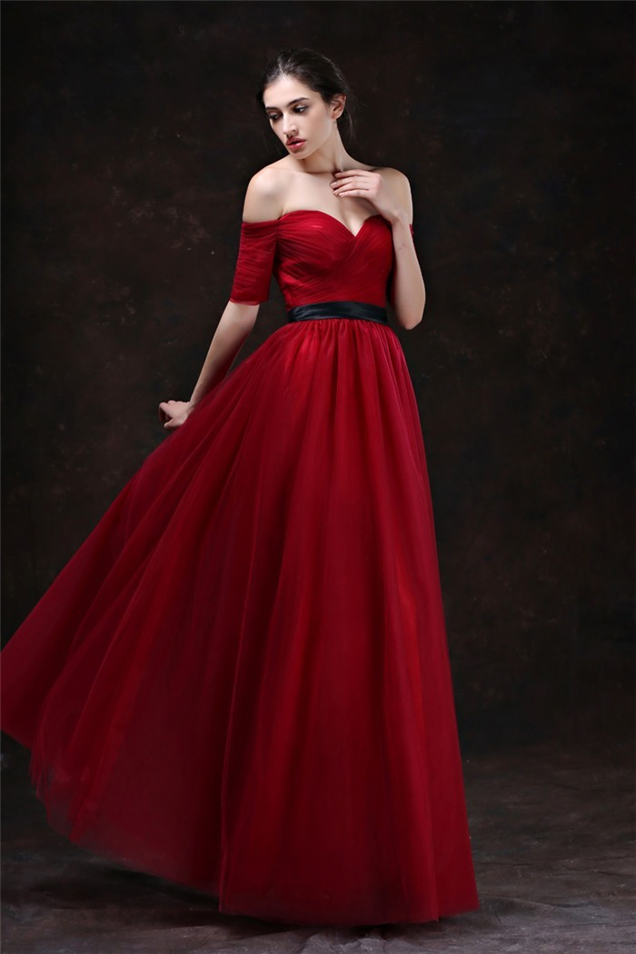 4b65c6a8e9c Sexy Sweetheart Off The Shoulder Short Sleeve Red Tulle Evening Prom Dress  With Black Sash