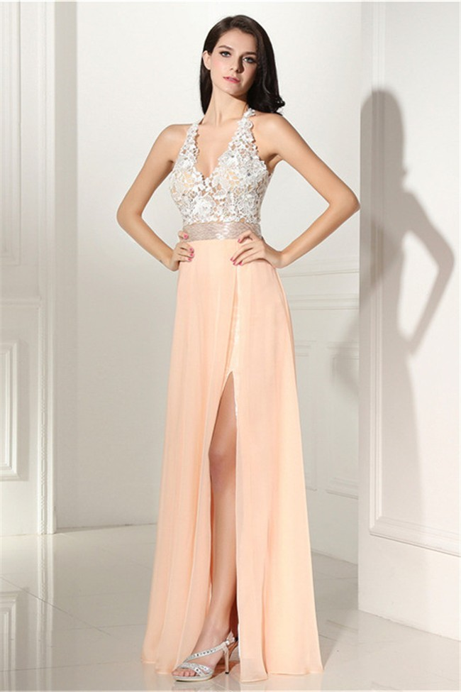 384f453ace9c1 Sexy V Neck High Slit Open Back Long Peach Chiffon Lace Prom Dress