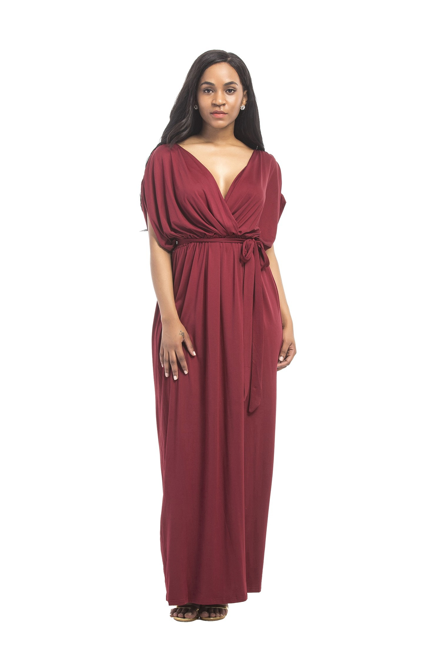 65bb1cabcec3 Sexy V Neck Long Burgundy Jersey Ruched Sleeve Summer Fall Dress With Sash