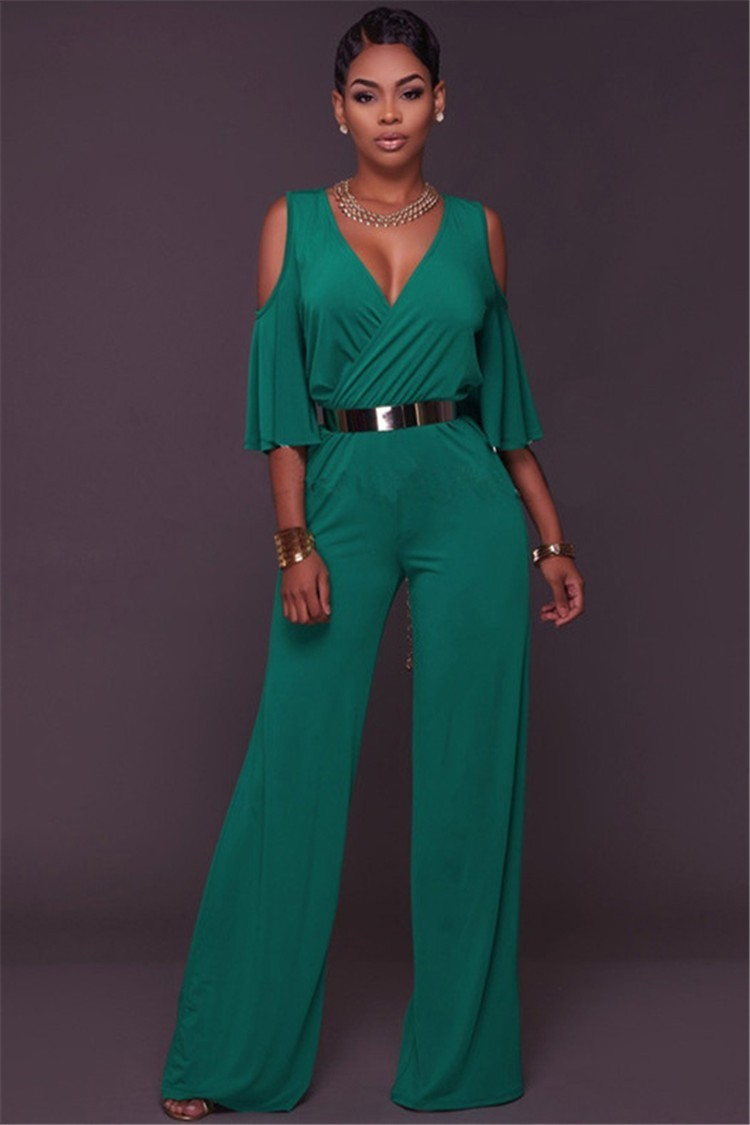 d41f121e2289 Sexy V Neck Ruffle Sleeve Wide Legged Pants Rompers Women Jumpsuit With Belt