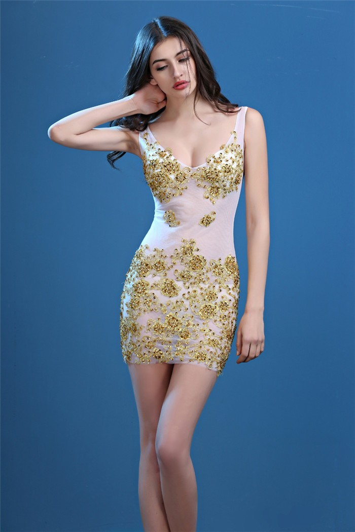 Sexy V Neck Sheer See Through Tulle Gold Lace Beaded Night Out Club Mini  Party Dress da28ce391