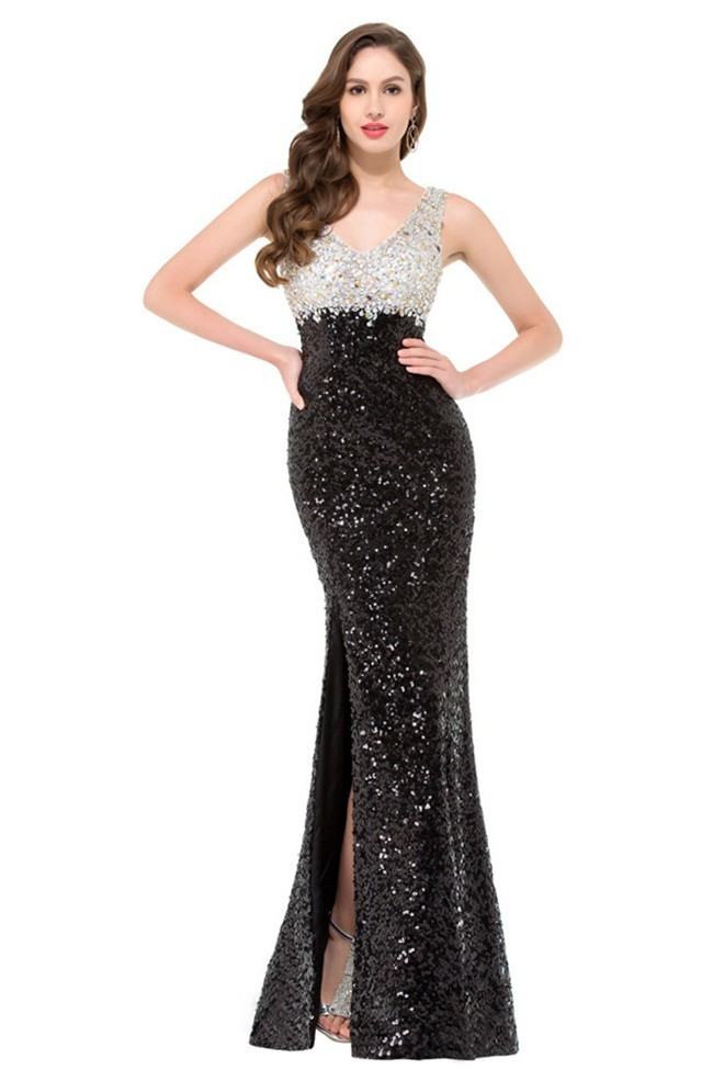 Sexy V Neck Side Slit Black And Silver Sequin Beaded Prom Dress