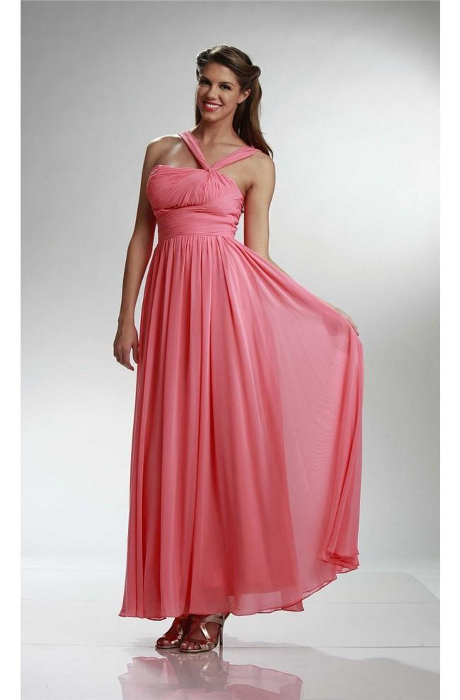 Coral Chiffon Bridesmaids Dress