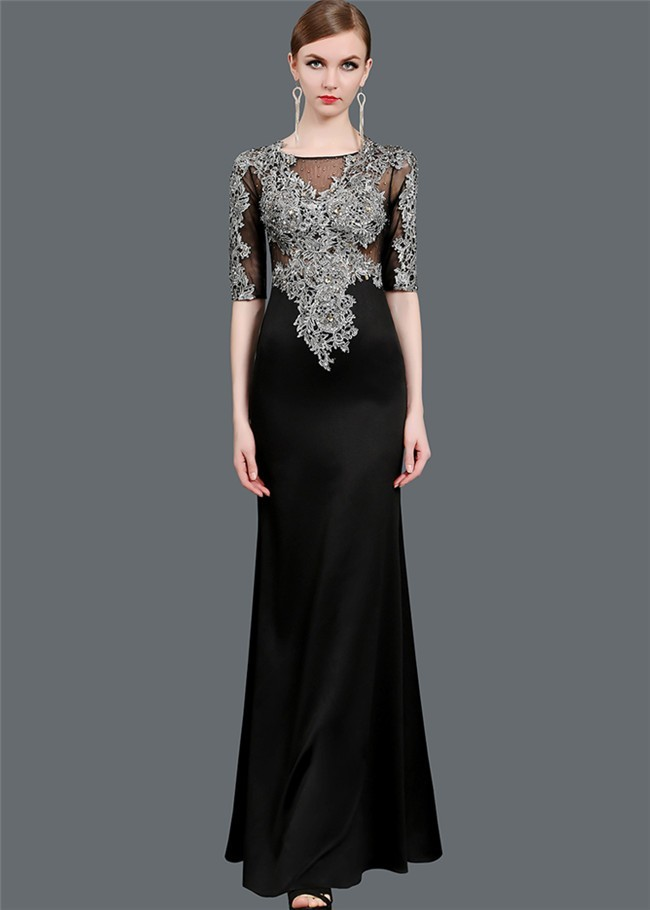 Sheath Boat Neck Half Sleeve Black Satin Silver Lace