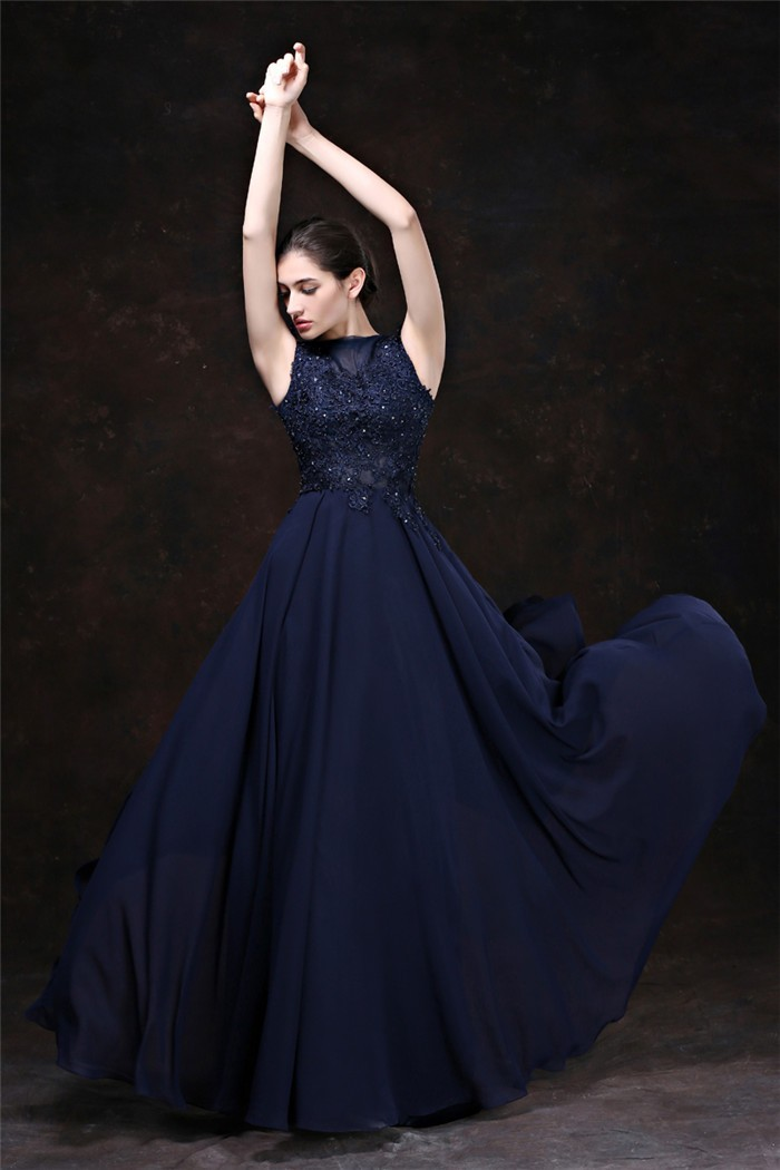 Sheath Boat Neck Keyhole Back Long Navy Blue Chiffon Lace Beaded