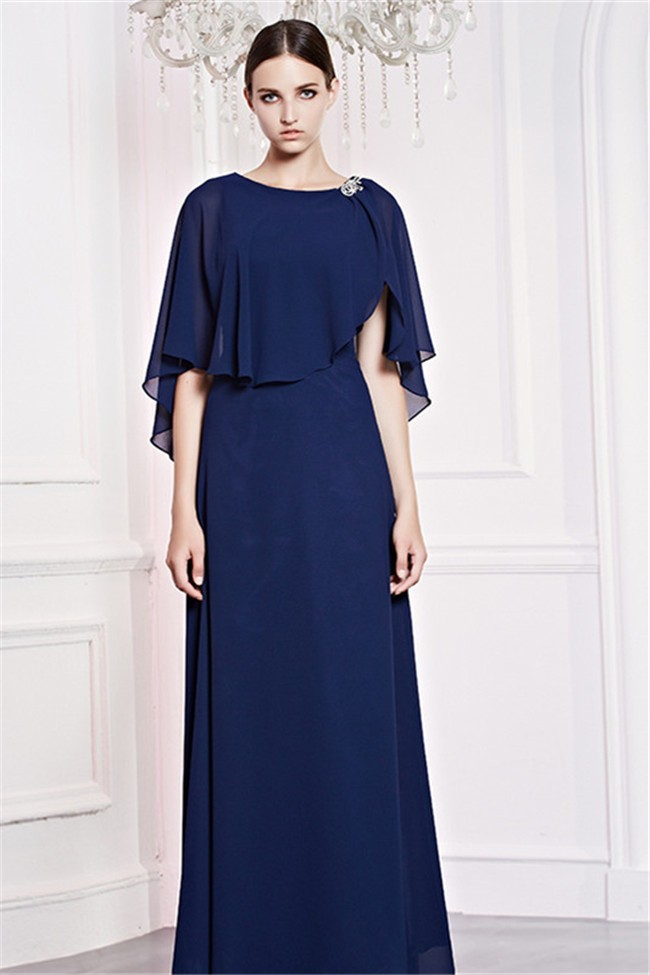 Sheath Boat Neck Long Navy Blue Chiffon Formal Occasion Evening Dress