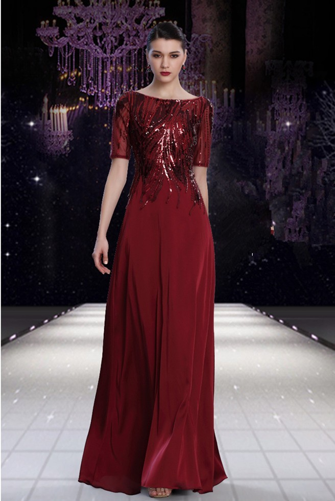 Sheath Boat Neck Short Sleeve Burgundy Chiffon Sequined Modest ...