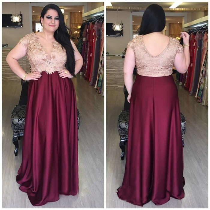 Sheath Cap Sleeve Burgundy Silk Lace Plus Size Mother Evening Prom Dress