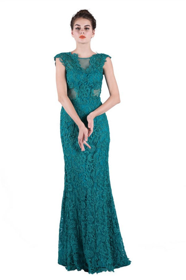 Sheath Cap Sleeve Open Back Side Cutout Teal Lace Occasion Evening Dress