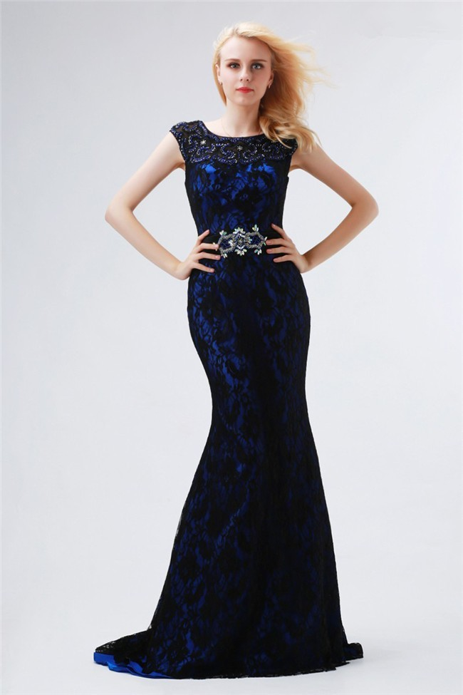 Sheath Cap Sleeve Royal Blue Satin Black Lace Beaded Evening Prom ...