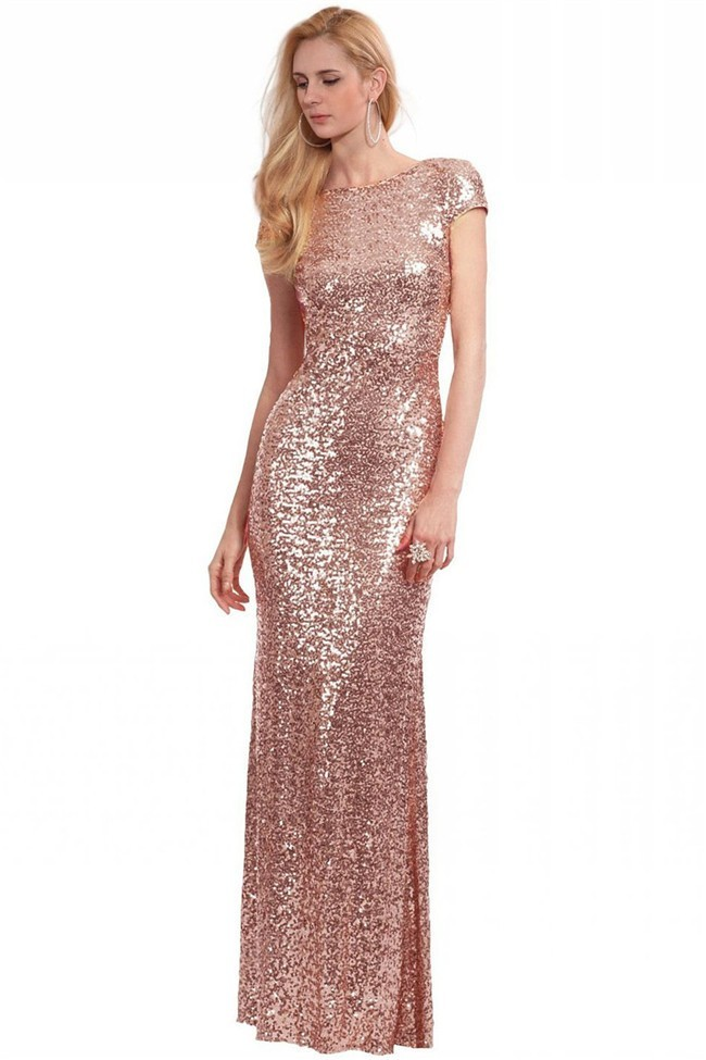 Sheath Cowl Back Short Sleeve Dusty Rose Sequin Evening Prom Dress