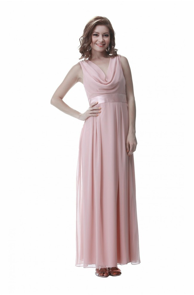 Sheath Cowl Neck V Back Long Blush Pink Chiffon Prom Dress With Sash