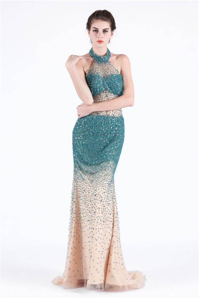 Sheath Halter See Through Champagne Tulle Teal Beaded Occasion Prom ...