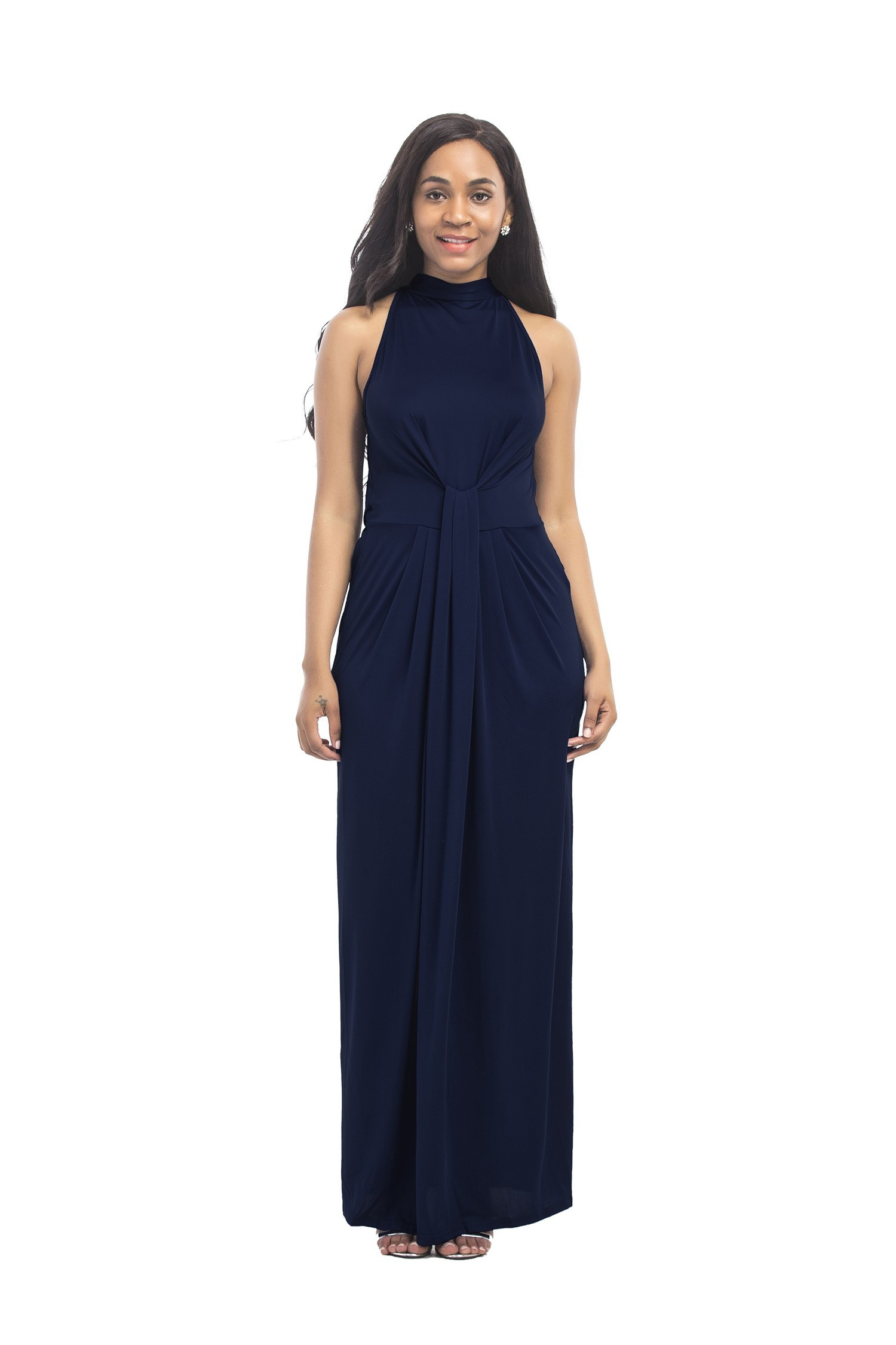 4538cd780a224 Sheath Halter Sleeveless Long Navy Jersey Ruched Plus Size Evening Dress