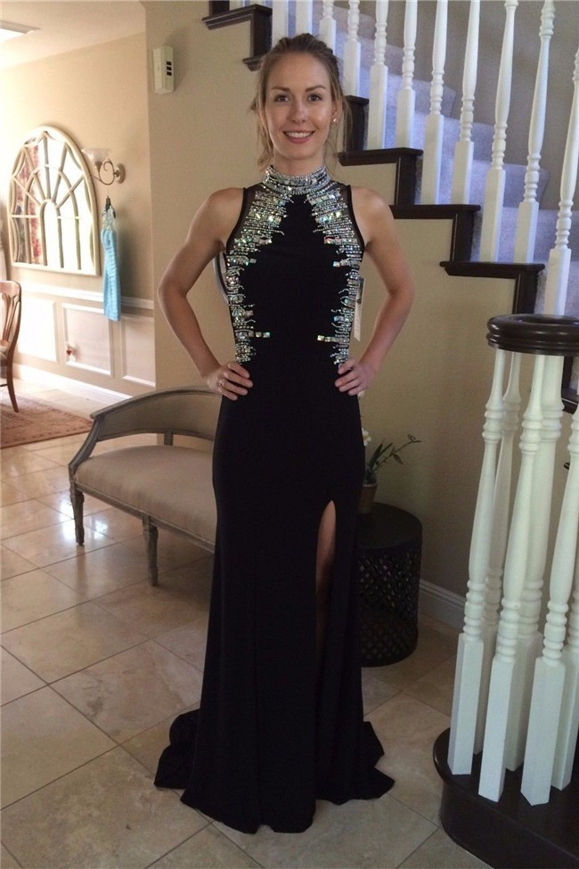 Sheath High Neck Open Back Long Black Jersey Beaded Prom Dress With Slit