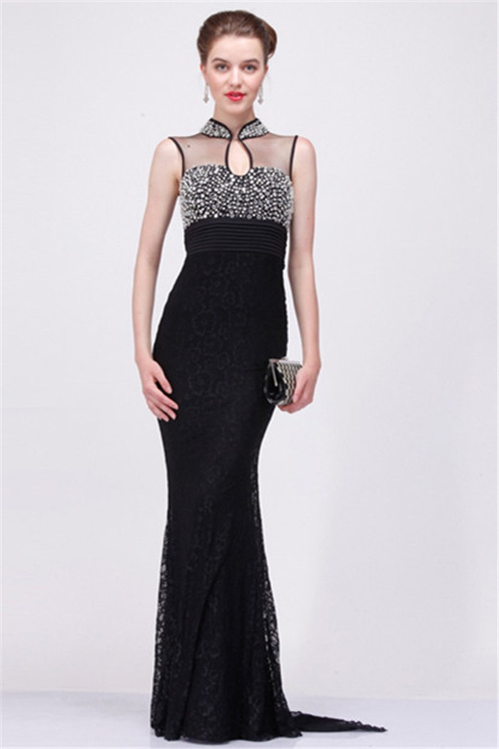 Sheath High Neck Sheer Back Black Tulle Lace Beaded Evening Dress