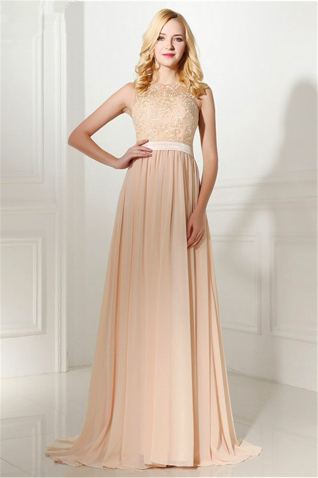 28fdeb544a741 Sheath High Neck Sheer Back Long Peach Lace Chiffon Prom Dress With Sash