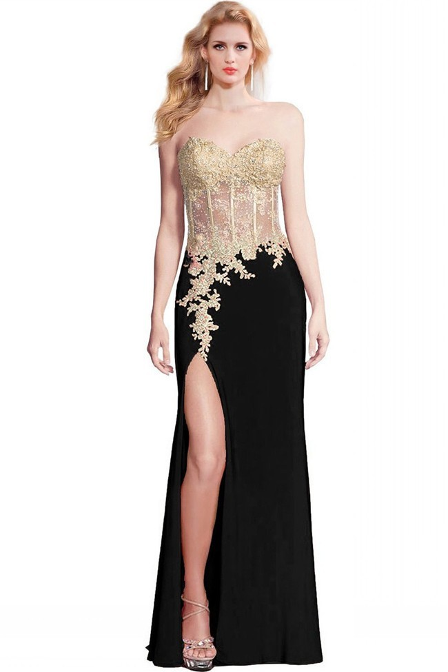 57928a08b61 Sheath High Slit Black Chiffon Gold Lace Applique See Through Prom Dress