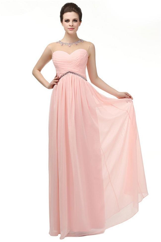 Sheath Illusion Jewel Neckline Empire Waist Long Light Pink Chiffon ...