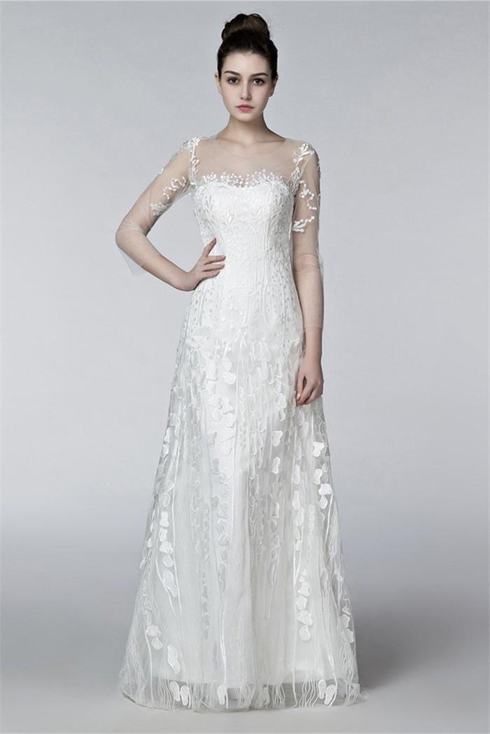 e9c97e3cc0e1 Sheath Illusion Neckline Keyhole Back 3 4 Sleeve Lace Beach Wedding Dress